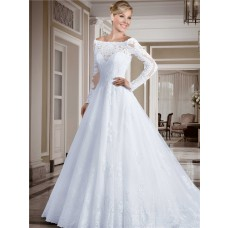 Princess Off The Shoulder Long Lace Sleeve Wedding Dress With Buttons