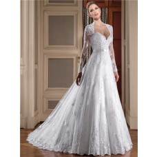 Princess Sheer Back Long Sleeve Tulle Lace Wedding Dress With Sash