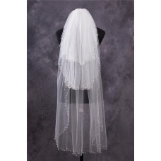 Princess Tiers Tulle Pearls Beaded Waltz Length Wedding Bridal Veil