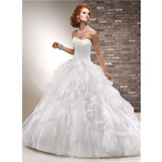 Puffy Ball Gown Strapless Corset Back Beaded Lace Tulle Wedding Dress
