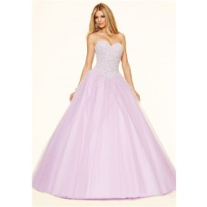 Puffy Ball Gown Strapless Corset Lilac Tulle Pearl Beaded Prom Dress