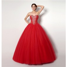 Puffy Ball Gown Strapless Red Tulle Beaded Prom Dress Corset Back