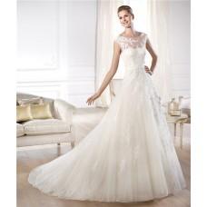 Romantic A Line Illusion Bateau Neckline Open Back Tulle Lace Wedding Dress