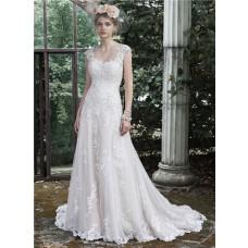 Romantic A Line Scoop Neckline Cap Sleeve Backless Vintage Lace Wedding Dress