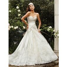 Romantic A Line Sweetheart Neckline Ivory Satin Lace Wedding Dress Chapel Train