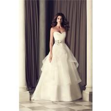 Romantic A Line Sweetheart Organza Ruffle Wedding Dress With Flower Sash