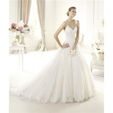 Romantic A Line V Neck Low Back Lace Wedding Dress With Straps