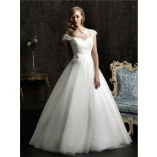 Romantic Ball Gown Cap Sleeve Sheer Tulle Lace Wedding Dress With Flower Sash