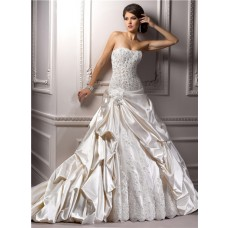 Romantic Ball Gown Strapless Champagne Satin Lace Beaded Corset Wedding Dress