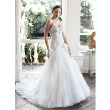 Romantic Ball Gown Strapless Satin Beaded Organza Ruffle Wedding Dress Corset Back