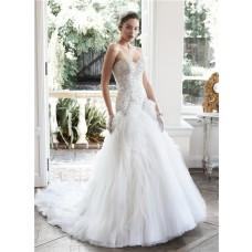 Romantic Ball Gown Strapless Satin Beaded Organza Ruffle Wedding Dress Corset Back