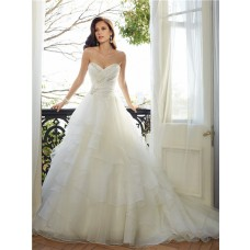 Romantic Ball Gown Strapless Sweetheart Neckline Layered Organza Ruffle Corset Wedding Dress