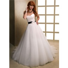 Romantic Ball Gown Sweetheart Tulle Wedding Dress With Black Flowers Sash