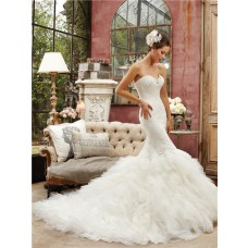Romantic Fitted Mermaid Sweetheart Corset Back Lace Organza Ruffle Wedding Dress