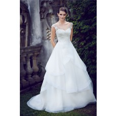 Romantic Illusion Neckline Low Back Lace Organza Layered Wedding Dress