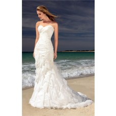 Romantic Mermaid Sweetheart Corset Lace Beaded Ruffle Destination Beach Wedding Dress