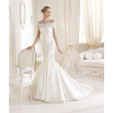 Romantic Mermaid Sweetheart Venice Lace Wedding Dress With Off The Shoulder Sleeves Jacket