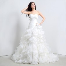 Romantic Trumpet Strapless Corset Organza Ruffle Wedding Dress Chapel Train