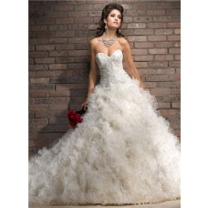 Royal Ball Gown Sweetheart Pleated Organza Ruffle Puffy Wedding Dress With Lace
