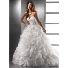 Royal Ball Gown Sweetheart Puffy Organza Wedding Dress With Pearls Beading