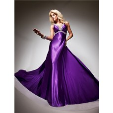 Royal Queen V Neck Backless Long Purple Silk Beading Prom Dress With Train