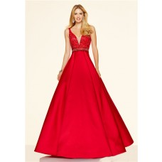 Sexy A Line Deep V Neck Low Back Long Red Satin Beaded Prom Dress