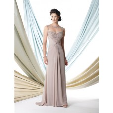 Sexy A Line Illusion Bateau Neckline Grey Chiffon Beaded Mother Of The Bride Evening Dress