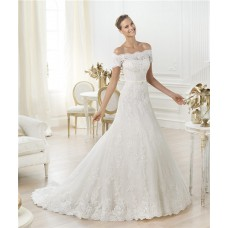 Sexy A Line Off The Shoulder Short Sleeve Beaded Lace Wedding Dress With Belt