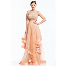 Sexy A Line Scoop Neck Long Peach Tulle Beaded Two Piece Prom Dress