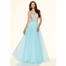 Sexy A Line V Neck Sheer Back Long Light Blue Chiffon Beaded Evening Prom Dress