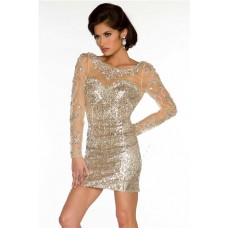 Sexy Backless Short Mini Champagne Sequin Beaded Long Sleeve Evening Cocktail Dress
