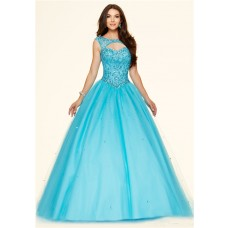Sexy Ball Gown Cut Out Open Back Blue Tulle Beaded Corset Prom Dress
