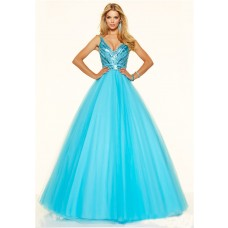 Sexy Ball Gown Deep V Neck Low Back Blue Tulle Beaded Sparkly Prom Dress