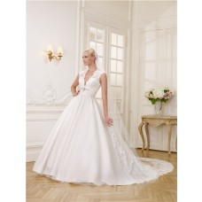 Sexy Ball Gown Deep V Neck Satin Tulle Lace Wedding Dress With Swarovski Crystals