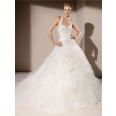 Sexy Ball Gown Halter Sweetheart Neckline Low Back Tiered Tulle Ruffle Wedding Dress Chapel Train