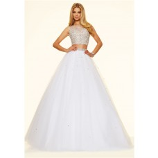 Sexy Ball Gown Open Back Two Piece Long White Tulle Beaded Prom Dress