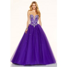 Sexy Ball Gown Plunging Neckline Corset Back Purple Tulle Beaded Prom Dress