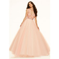 Sexy Ball Gown V Neck Low Back Pink Champagne Tulle Beaded Prom Dress