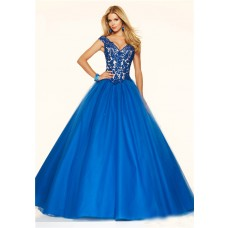 Sexy Ball Gown V Neck Royal Blue Tulle Lace Beaded Prom Dress