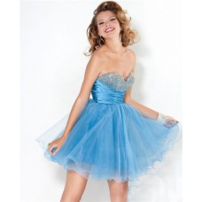 Sexy Ball Sweetheart Short Mini Blue Tulle Beaded Prom Cocktail Party Dress