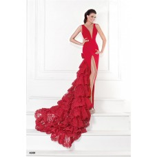 Sexy Deep V Neck Low Back High Slit Red Lace Ruffle Evening Prom Dress