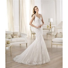 Sexy Fitted Mermaid V Neck Lace Wedding Dress With Straps Buttons