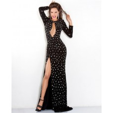 Sexy Front Keyhole Cut Out Long Sleeve Black Beaded Evening Prom Dress With Slit