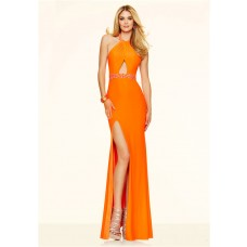 Sexy Halter Backless Cut Out Keyhole Slit Long Orange Jersey Beaded Prom Dress