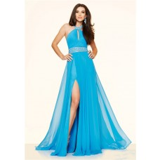 Sexy Halter Keyhole Cut Out Slit Long Sky Blue Chiffon Beaded Prom Dress