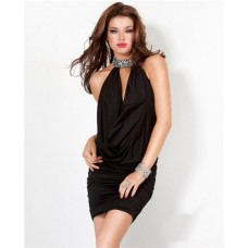 Sexy Halter Low Back Black Jersey Ruched Club Cocktail Party Dress