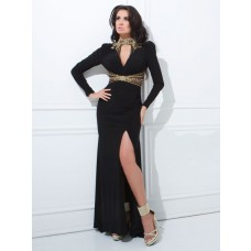 Sexy High Neck Front Keyhole Backless Long Sleeve Black Chiffon Evening Prom Dress