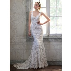 Sexy Memraid V Neck Open Back Venice Lace Wedding Dress