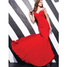 Sexy Mermaid Cap Sleeve V Neck Long Red Chiffon Beaded Evening Prom Dress Low Back