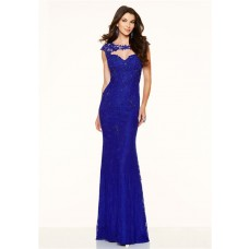 Sexy Mermaid Cut Out Backless Cap Sleeve Royal Blue Lace Prom Dress